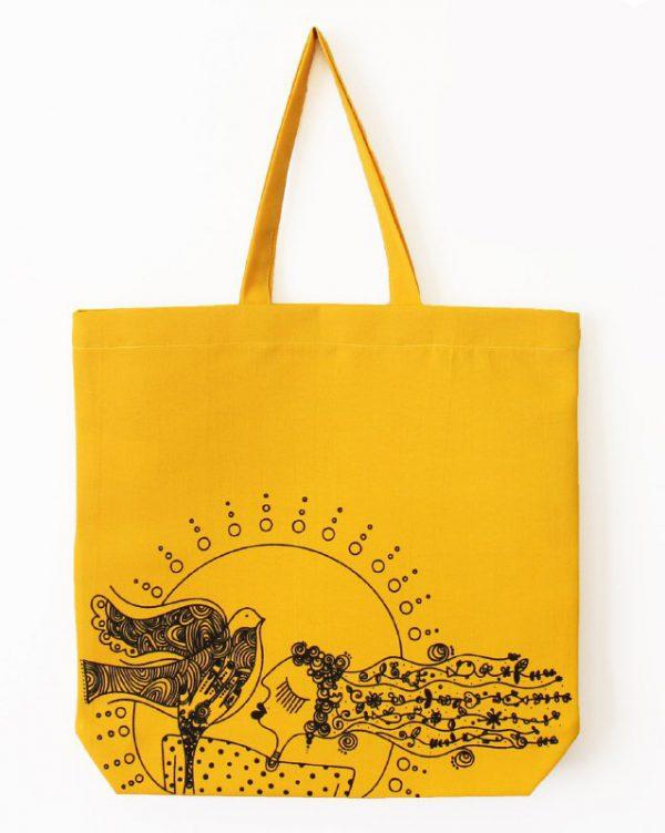 ساک دستی طرح زرد دختر خورشید
