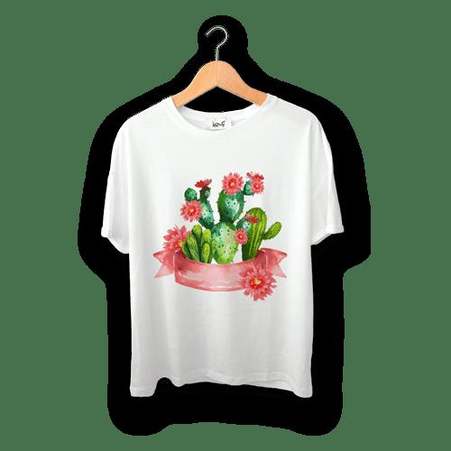 تی شرت طرح کاکتوس گلدار