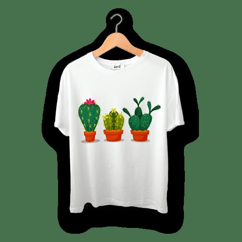 تی شرت طرح گلدان های کاکتوس