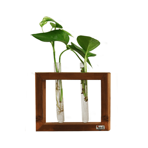 گلدون چوبی دو شیشه